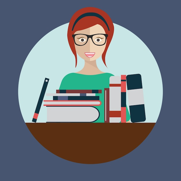 Librarian woman with books Free Vector