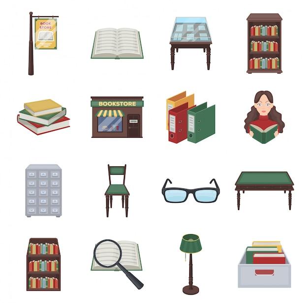 図書館と本の漫画のアイコンを設定します。イラスト本屋。孤立した漫画は、アイコンライブラリと本を設定します。 Premiumベクター