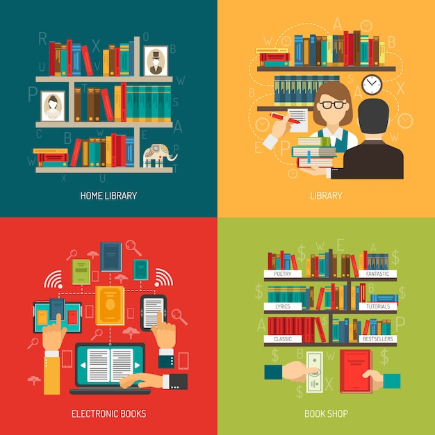Library concept 4 flat icons square Free Vector