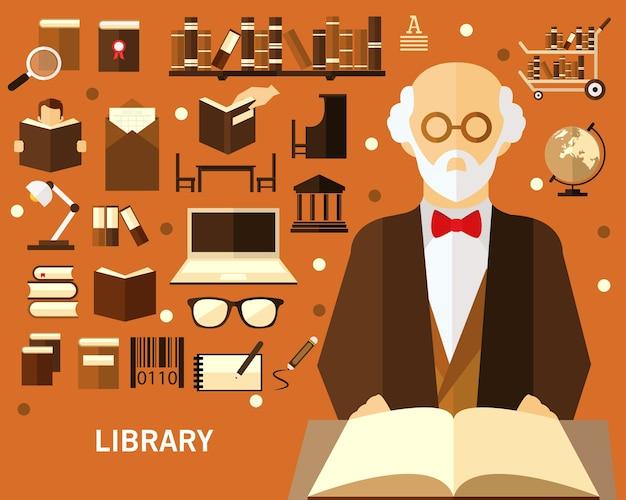 図書館のコンセプト背景 Premiumベクター