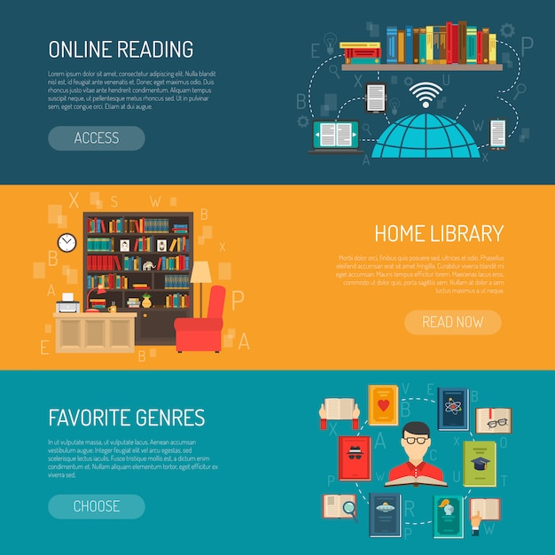Library flat banners set Free Vector