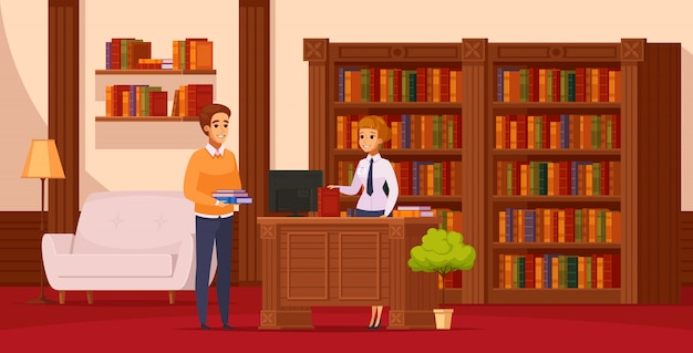 Library flat orthogonal composition with librarian assisting reader at service desk in front of bookshelves Free Vector