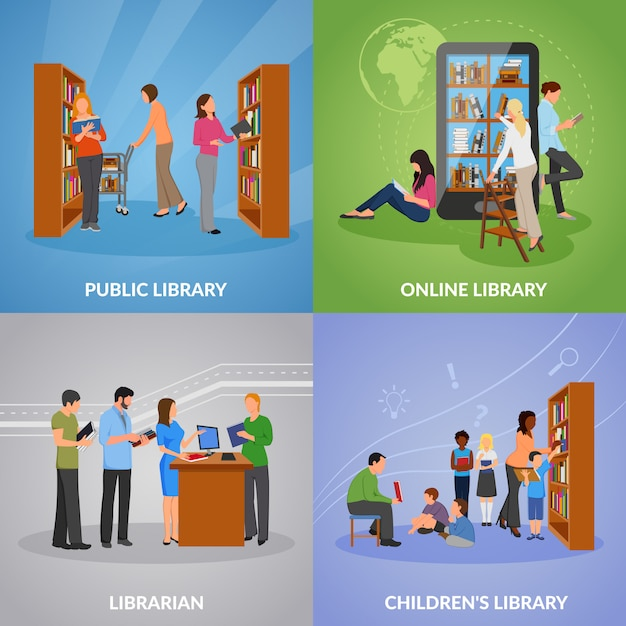 Library icons set Free Vector