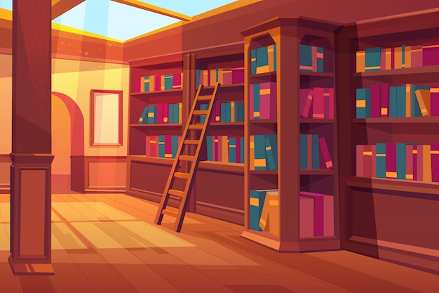 Library interior, empty room for reading with books on wooden shelves Free Vector