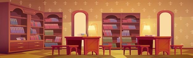 Interno della biblioteca, stanza vuota per la lettura con vari libri di raccolta sugli scaffali della libreria in legno Vettore gratuito