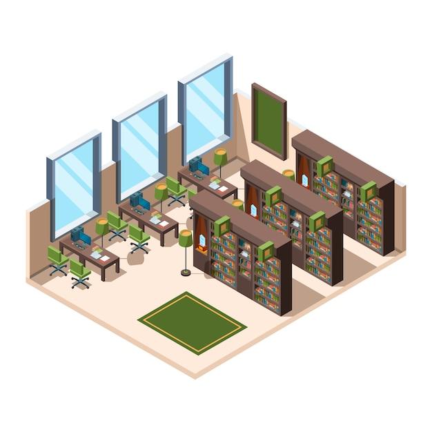Library interior. university school room with bookshelves librarian campus  isometric building Premium Vector
