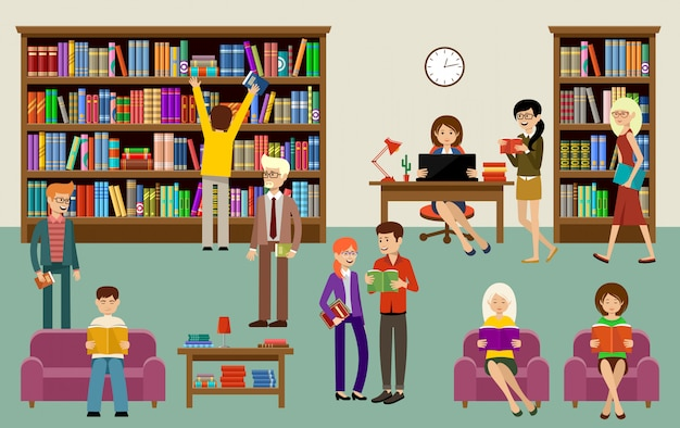Library interior with people and book shelves. education Premium Vector