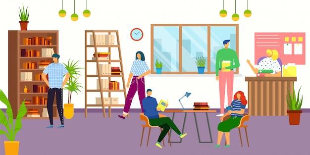 図書館のインテリア、読書、学生、知識、教育のイラスト。図書館員と人々がコミュニケーションを取りながら、本、大学、学校の図書館を利用しています。 Premiumベクター