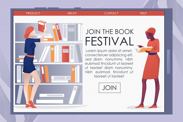 Library invite on bookfest mobile landing page Premium Vector