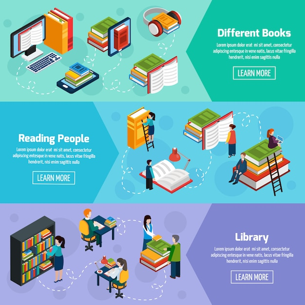Library isometric horizontal banners Free Vector