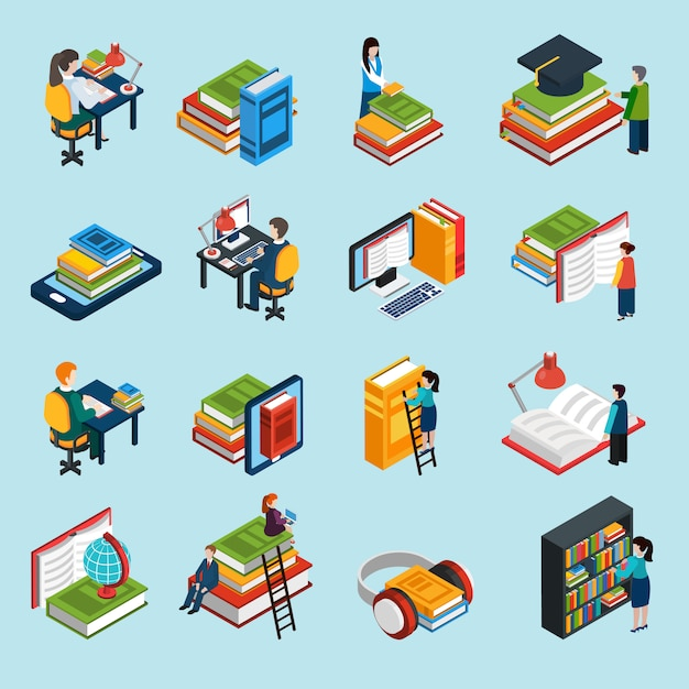 Library isometric icons set Free Vector