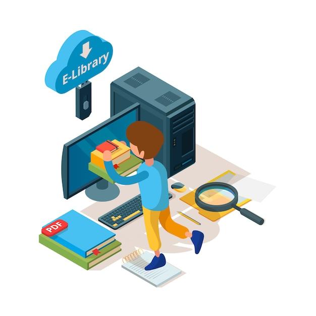 Библиотека изометрическая. интернет-учебник и электронное архивирование электронных книг Premium векторы