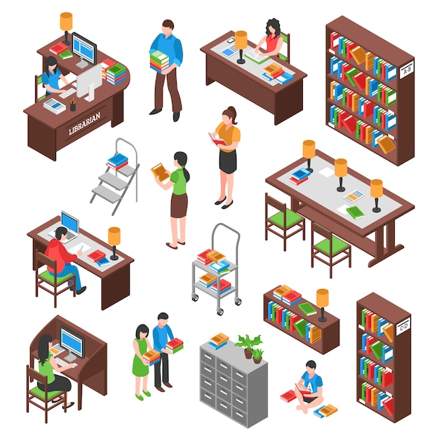 Library isometric set Free Vector