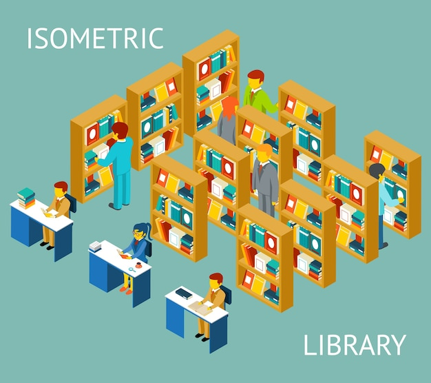 Library in isometric view, flat style. people among bookshelves. Premium Vector