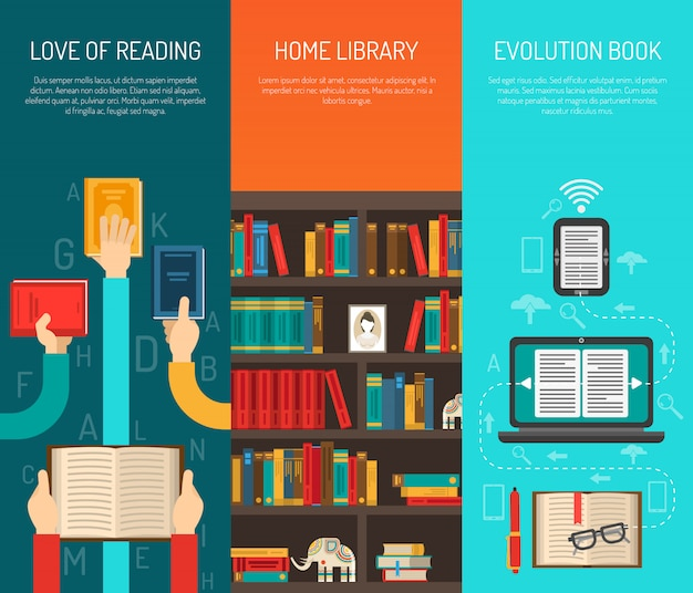 Library long hands flat bannes set Free Vector