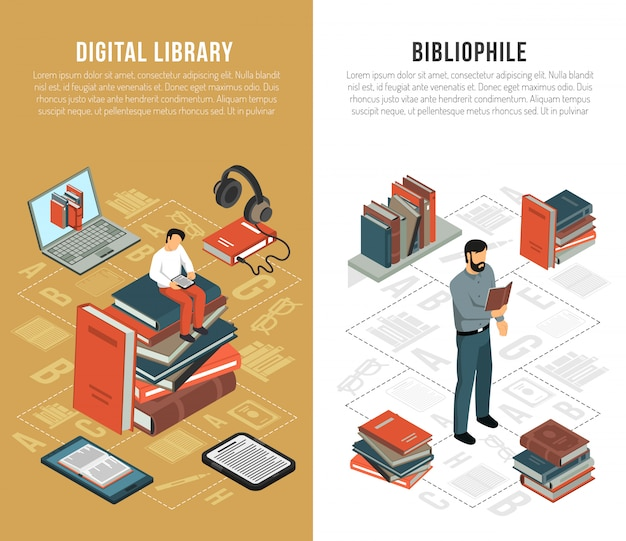 Library network vertical banners Free Vector