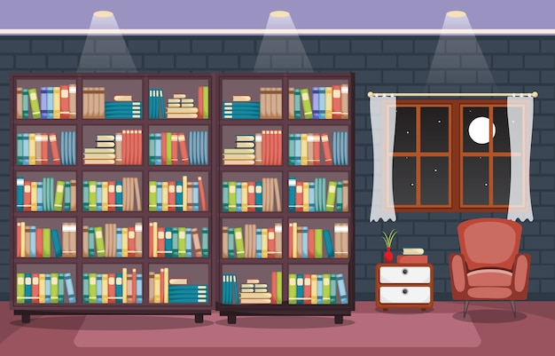 Library room interior stack of book on bookshelf flat design Premium Vector