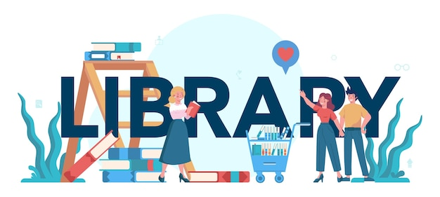 Library typographic header concept. library staff holding and sorting Premium Vector