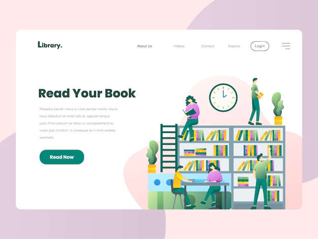 Library website landing page Premium Vector