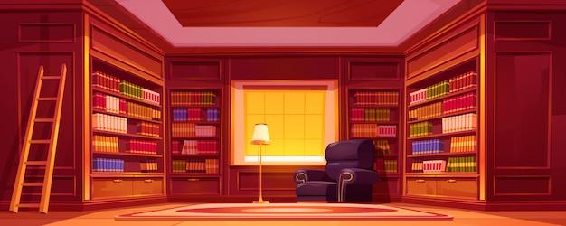 本棚、はしご、椅子、ランプのあるライブラリ。 無料ベクター