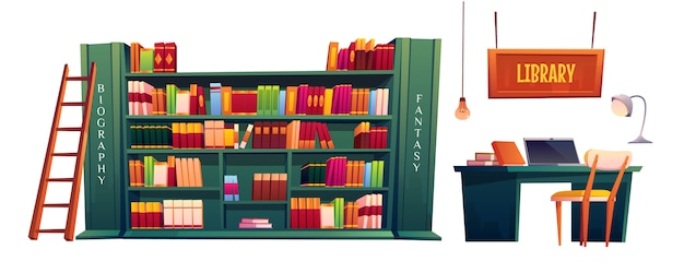 Library with books on shelves and laptop on table Free Vector