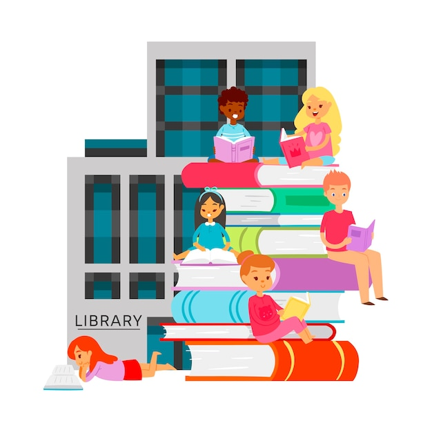 Librarystudying different nationality students books bookshelves. cartoon illustration children and students sitting Premium Vector