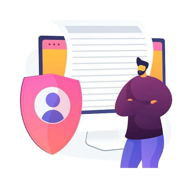 Contratto di licenza. corrispondenza elettronica riservata, protezione della privacy su internet, idea di regolamenti. cybersecurity, salvaguardare il software. Vettore gratuito