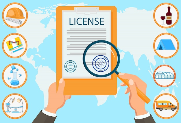 License law firm certified documents contract. Premium Vector