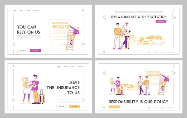 Набор шаблонов целевой страницы гарантии безопасности жизни и здоровья Premium векторы