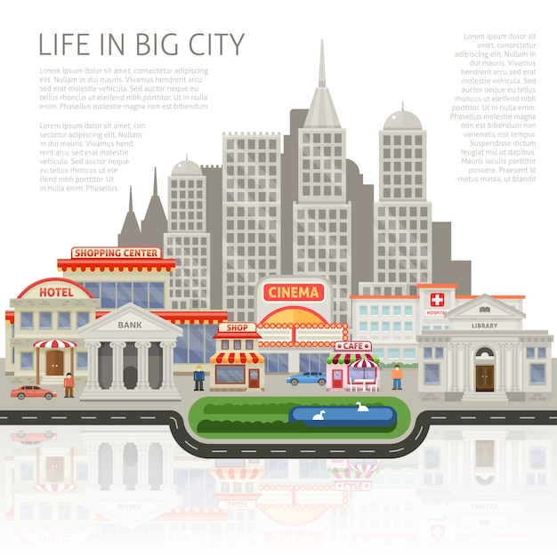Life in big city design with commercial houses and skyscrapers people buildings silhouettes Free Vector