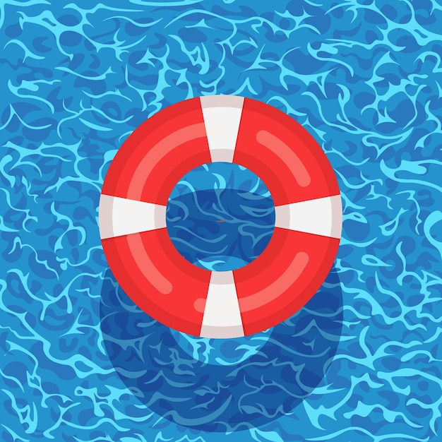 Life buoy floating in swimming pool. beach rubber ring on water  on background. lifebuoy, cute toy for children. inable circle. ship rescue belt for saving people. Premium Vector