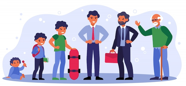 Life cycle of man from infant to pensioner Free Vector
