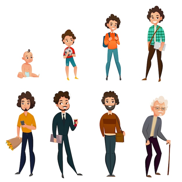 Life cycle of men Free Vector