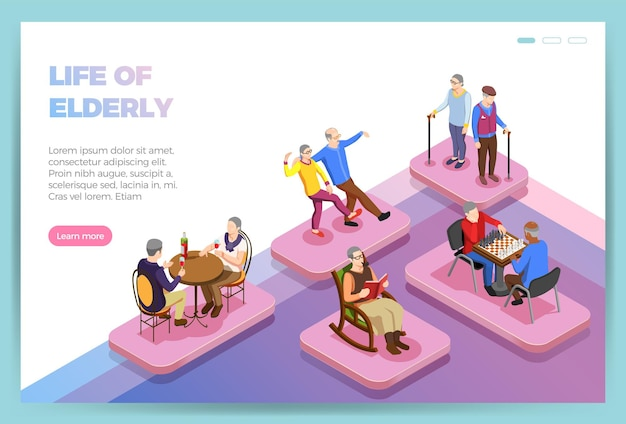 Life of elderly people isometric landing page of web site Free Vector