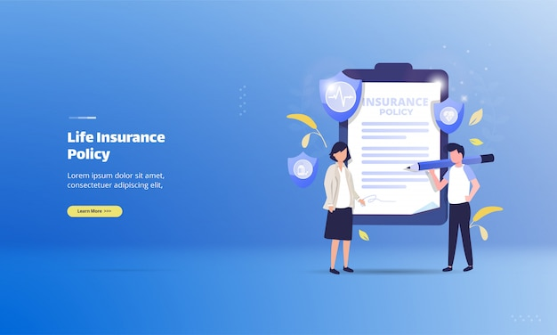Life insurance policy on illustration concept | Premium Vector