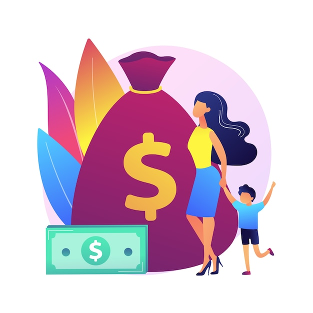 Life insurance. welfare payments. risk assurance. parent with kid, mother with baby, woman with child. secure parenthood. bag with money.  isolated concept metaphor illustration. Free Vector