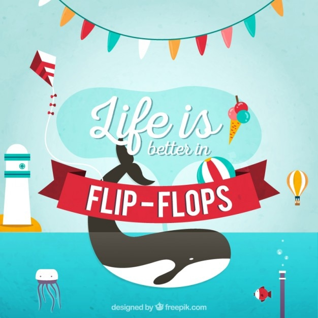 Life Is Better In Flip Flops Background Vector Free Download