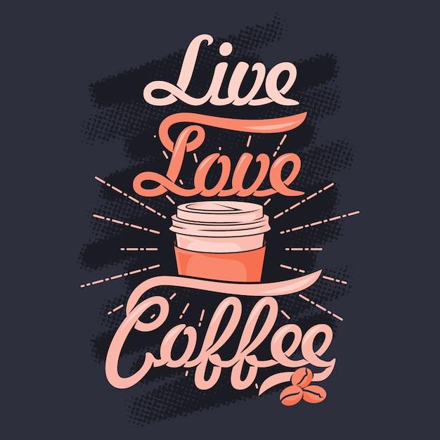 Жизнь люблю кофе. кофейные поговорки и цитаты Premium векторы