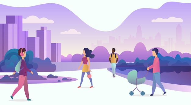 Life in modern eco city illustration Premium Vector