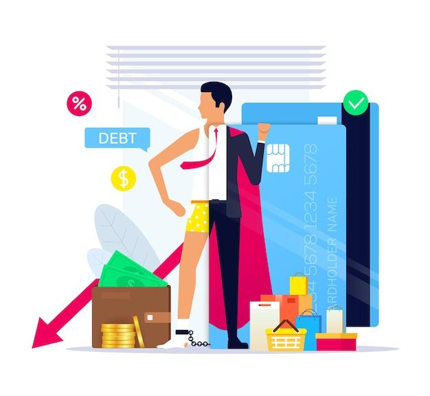 ライフスタイルとしてのクレジットでの生活、クレジットのスーパーヒーロー。クレジットカードの負債。 Premiumベクター