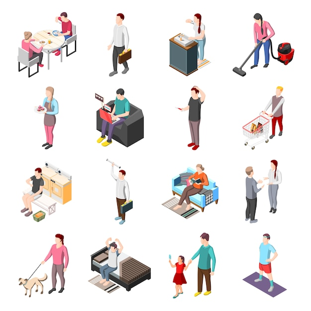 Life of ordinary people isometric characters Free Vector