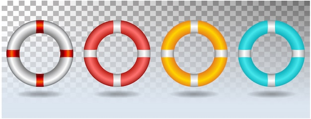Life ring set icon illustration isolated on white background Premium Vector
