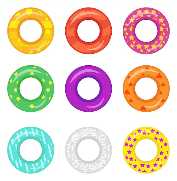 Lifebuoy icon set. rings for swimming collection. cartoon style,  on white background.  illustration. Premium Vector