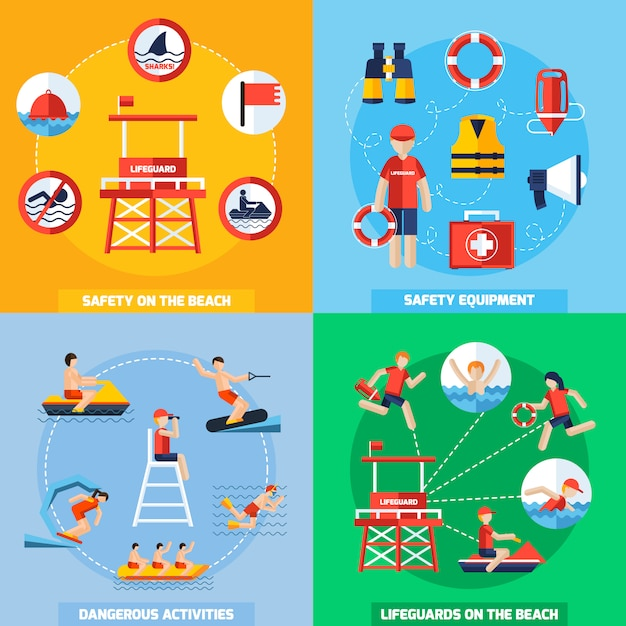 Lifeguard 4 flat icons square composition Free Vector