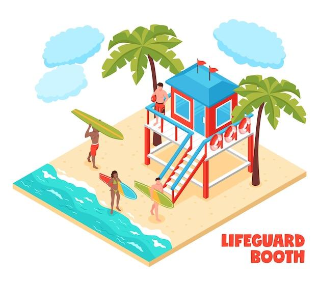 Спасатель стенд на южном пляже изометрической композиции с заставкой и серферов с досками для серфинга Бесплатные векторы