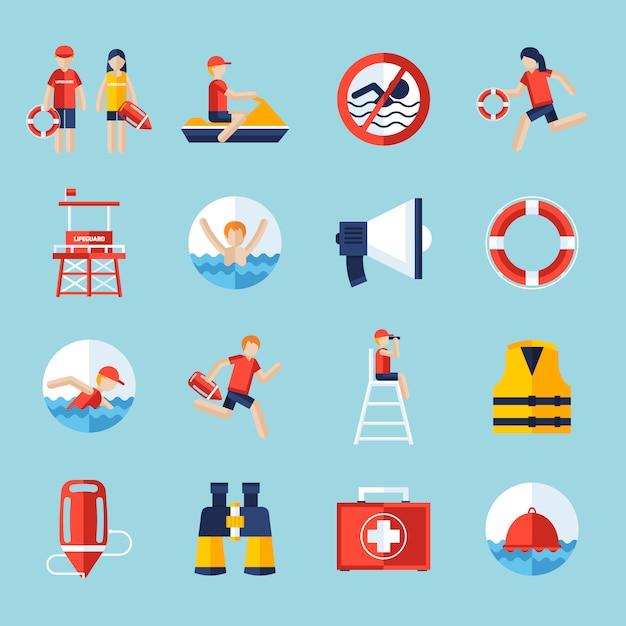 Lifeguard icons set Free Vector