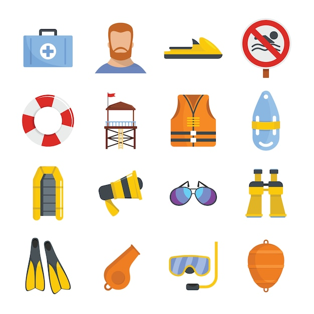 Lifeguard save icons set Premium Vector