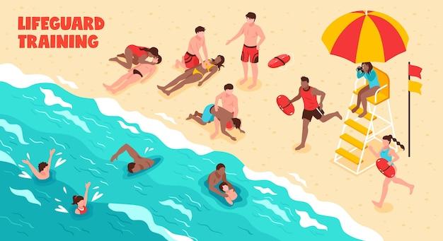 Тренировка спасателя по горизонтали, показывающая, как люди плавают и спасают тонущих в воде и на пляже Бесплатные векторы