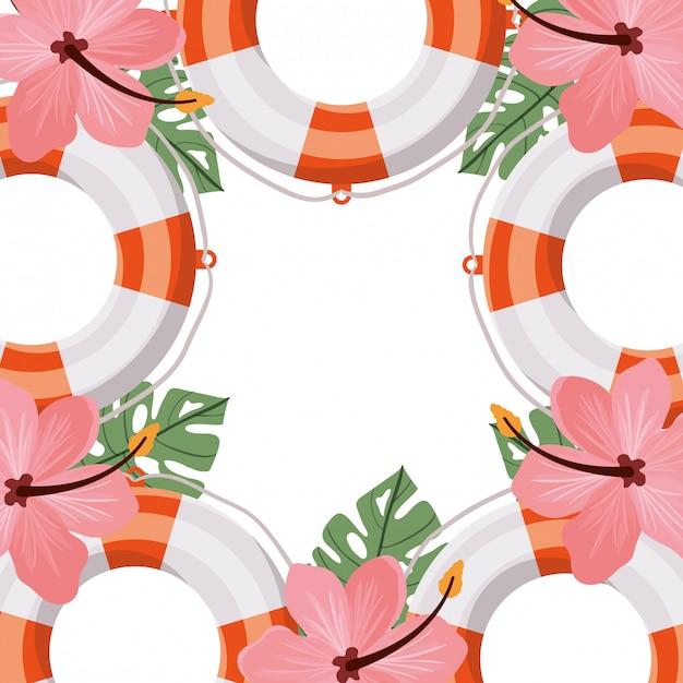 Спасение жизни с цветком летом на белом фоне Premium векторы