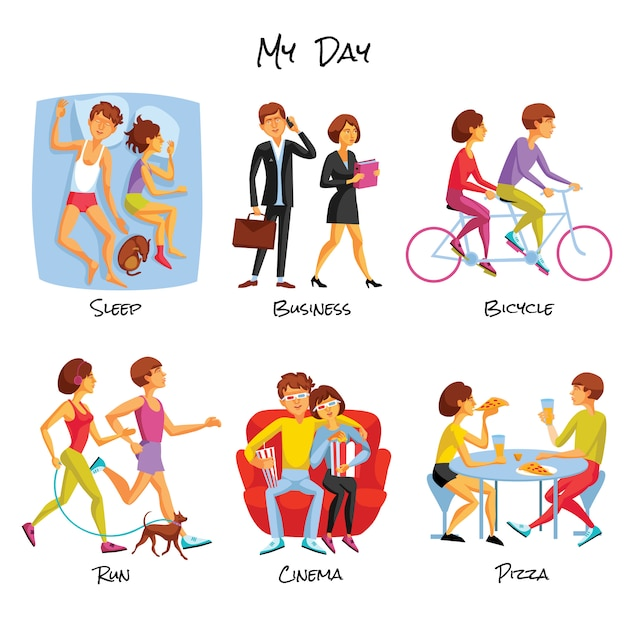 Lifestyle cartoon set Free Vector